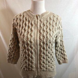 Chico's oatmeal colored cable knit sweater